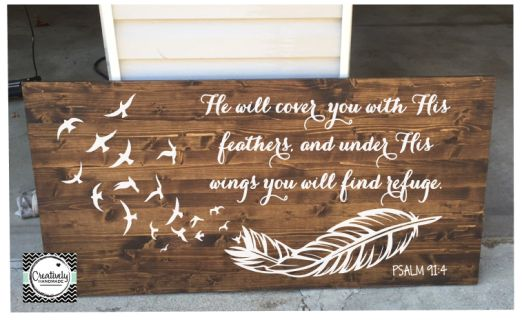 He will cover you with His feathers, and under His wings you will find refuge. Psalm 91:4 **Product details listed below.
