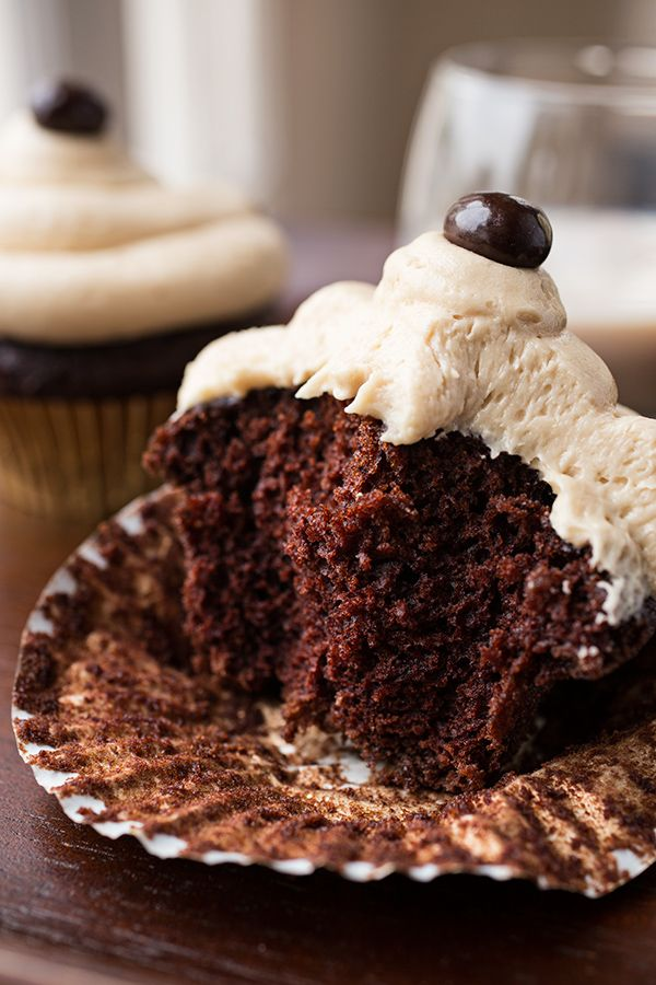 Rich & Chocolatey Irish Cream & Coffee Cupcakes made with Sweet Irish Cream Liqueur & Real Coffee