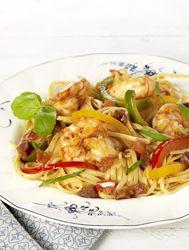 Recept » Colruyt Culinair : Linguine met scampi's en chorizo