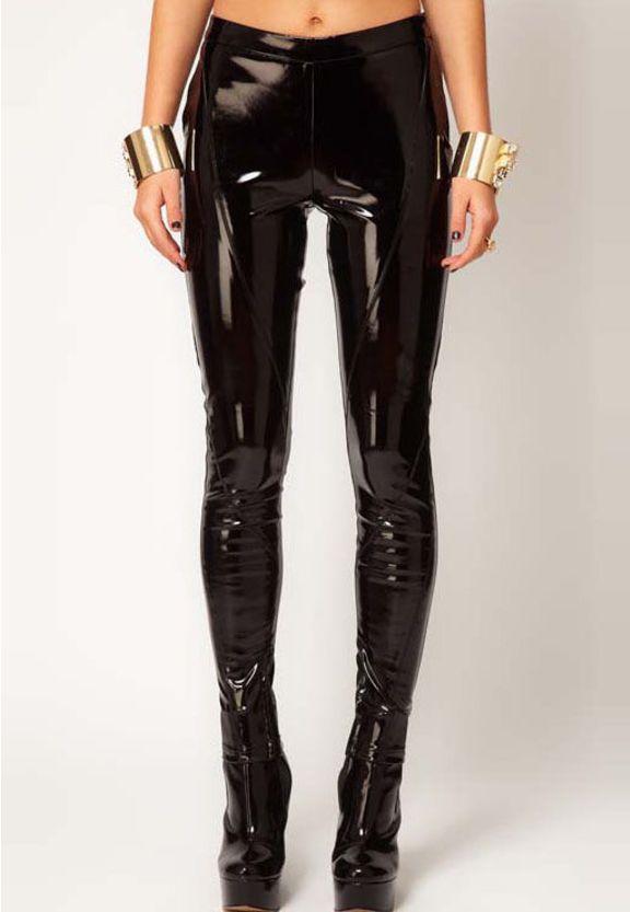 calça de couro (fake) punk - calças sheinside
