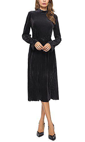 Vestiti Donna Eleganti da Cerimonia da Sera Festa Abito Manica Lunga  Vintage Velluto Moda Unique Autunnali 3d810fbab64