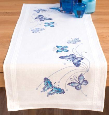 tovagliepunto croce schemi gratis | Striscia Farfalle blu da Vervaco - - - Casa Cenina