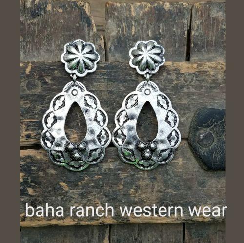 Cowgirl Bling Gypsy Concho  EARRINGS Silver tone  southwestern western