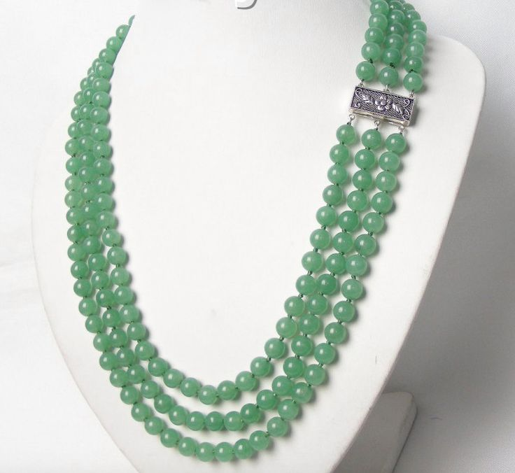 A 100% NATURAL Light Opaque Green JADE Gemstone 8mm Beads, Three 3 Strands Neoclassical Necklace with Sterling Silver-Plated Claspes! by Ameogem on Etsy