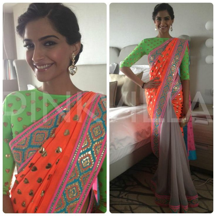 Sonam Kapoor in Manish Arora, wowoza, I just screamed when I saw this, this woman is a genius, and notice how the gray is so cleverly put to balance out the neon