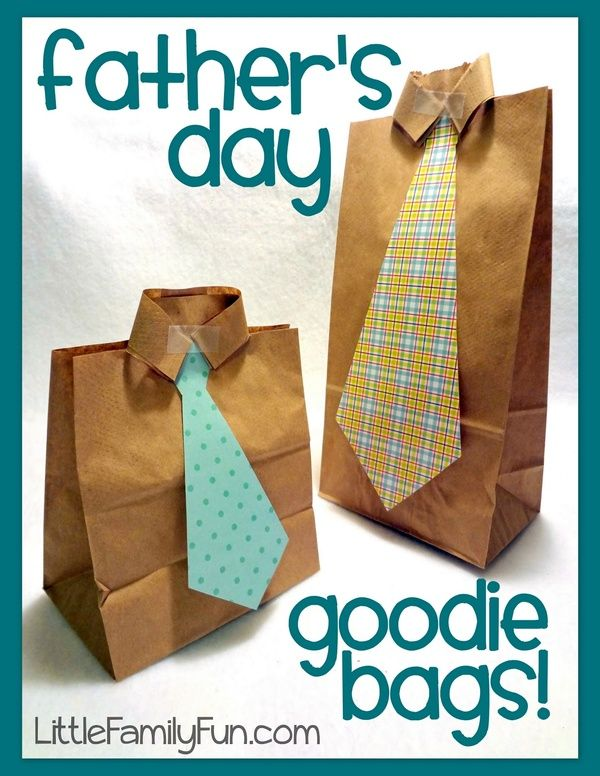 Father's Day Goodie Bags    These goodie bags are so easy to make and can be filled with treats, notes, or any kind of fun surprise for Daddy!    Supplies:  Brown paper lunch sacks  Scrapbook paper  Scissors  Glue  Tape    Here's what you do:  Using scrapbook paper, cut out a tie shape, and glue it onto your bag.  (Before doing the next step, fill ,,,,,,,,,,, aint this the cutest gift bag ever!