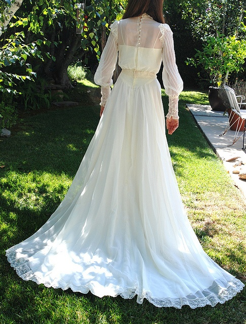 Vintage 1970s Ivory Organza & Lace Victorian Train Wedding Gown 8 by mondas66, via Flickr