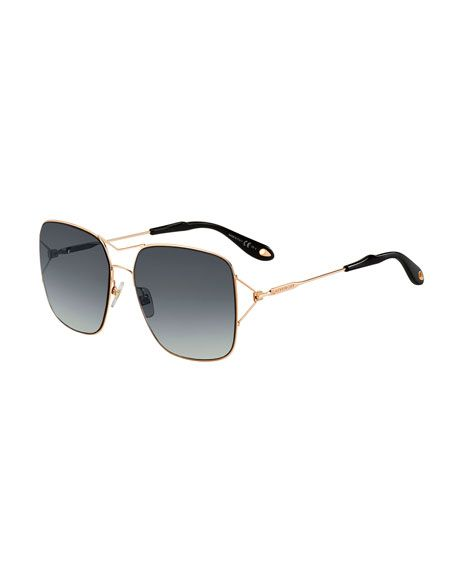 3a3f98ca6091 GIVENCHY Metal Double-Wire Square Sunglasses