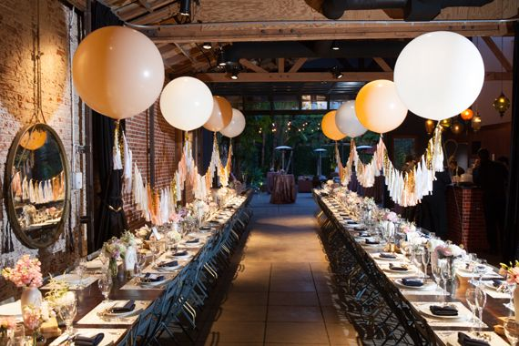 What's the Best Way to Utilize High Ceilings? Suspend Geronimo balloons! LA wedding. Marvimon house wedding photos by Braedon Flynn | 100 Layer Cake |