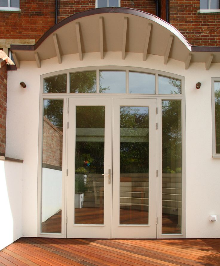 curved copper roof basement extension to oxford townhouse french doors
