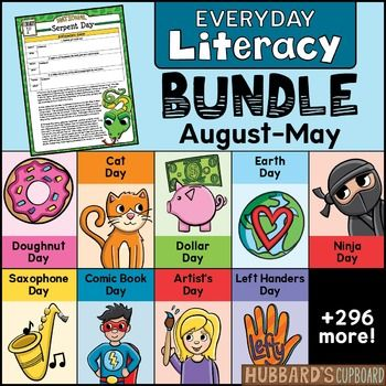 This Evidence-based Reading & Writing BUNDLE.  is loaded with over 1400 pages.  of literacy work that is centered around information about each daily National Day.   Each day includes a CCSS close reading assignment along with a daily evidence-based writing assignment that fits the CCSS writing of narrative, expository, and opinion writing.