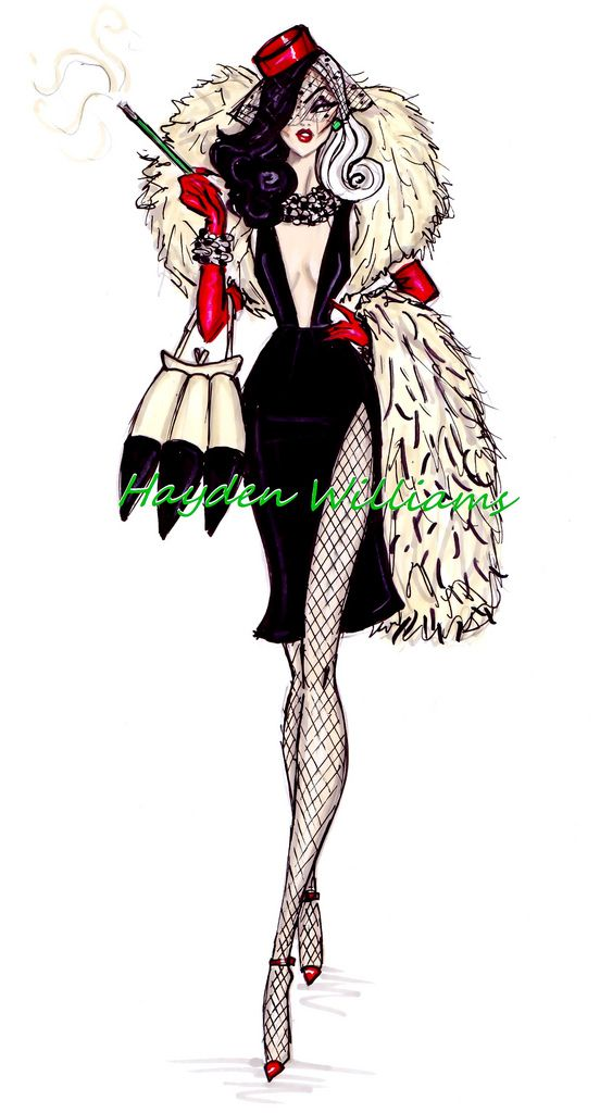 #Hayden Williams Fashion Illustrations: The Disney Diva Villainess collection by Hayden Williams: Cruella de Vil