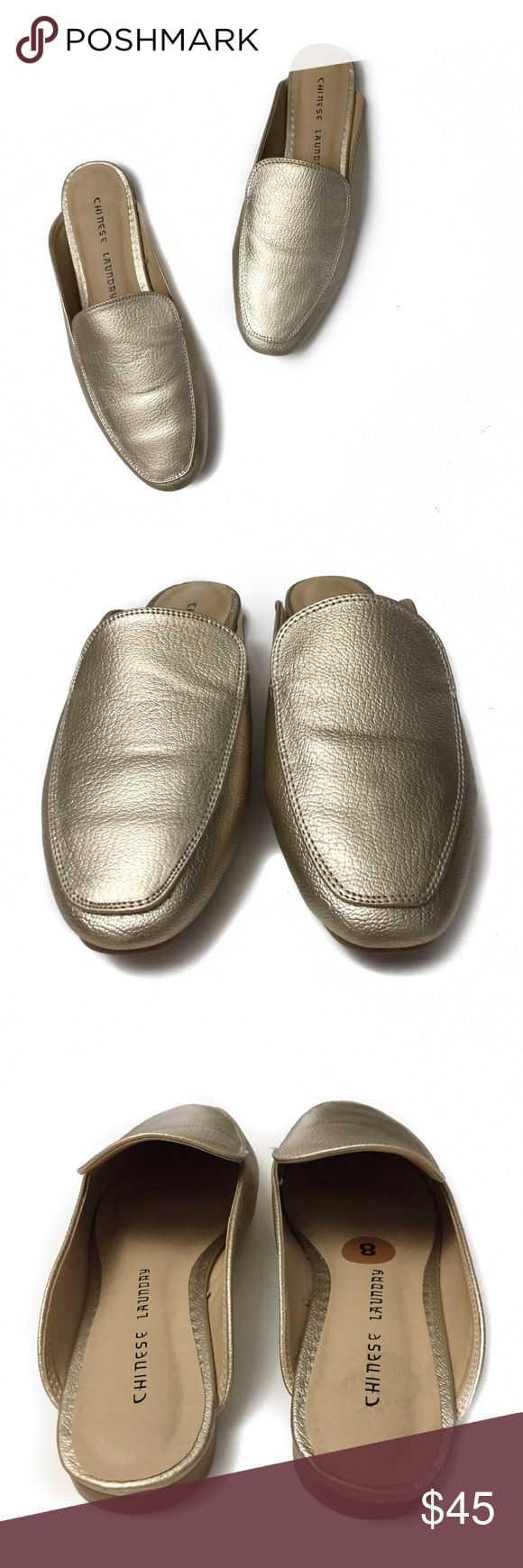 chinese laundry • gold mules in excellent condition | only worn once.   material is man made | color is gold. Chinese Laundry Shoes Mules & Clogs #Mules&Clogs