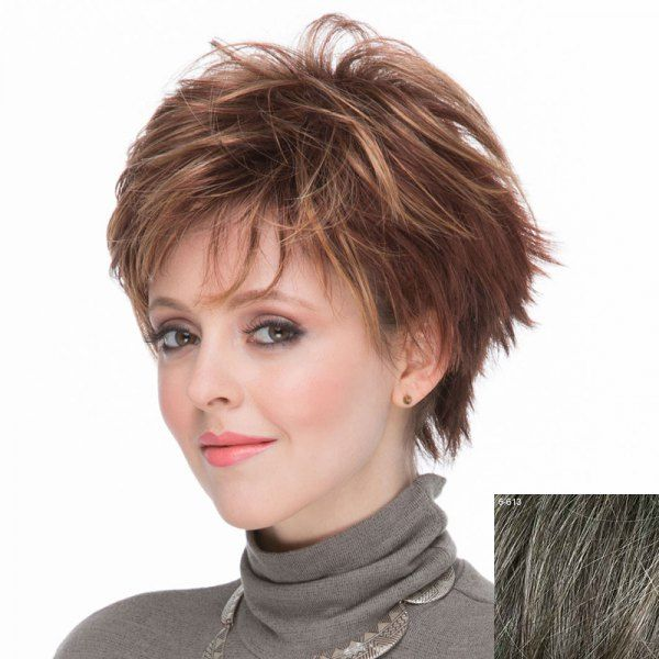 Spiffy Short Inclined Bang Outstanding Fluffy Natural Wavy Capless Human Hair Wig For Women