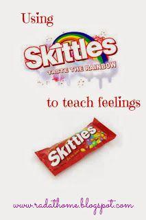 Skittles game to teach feelings, free printables
