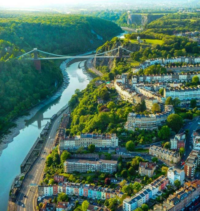 Clifton suspension bridge from above