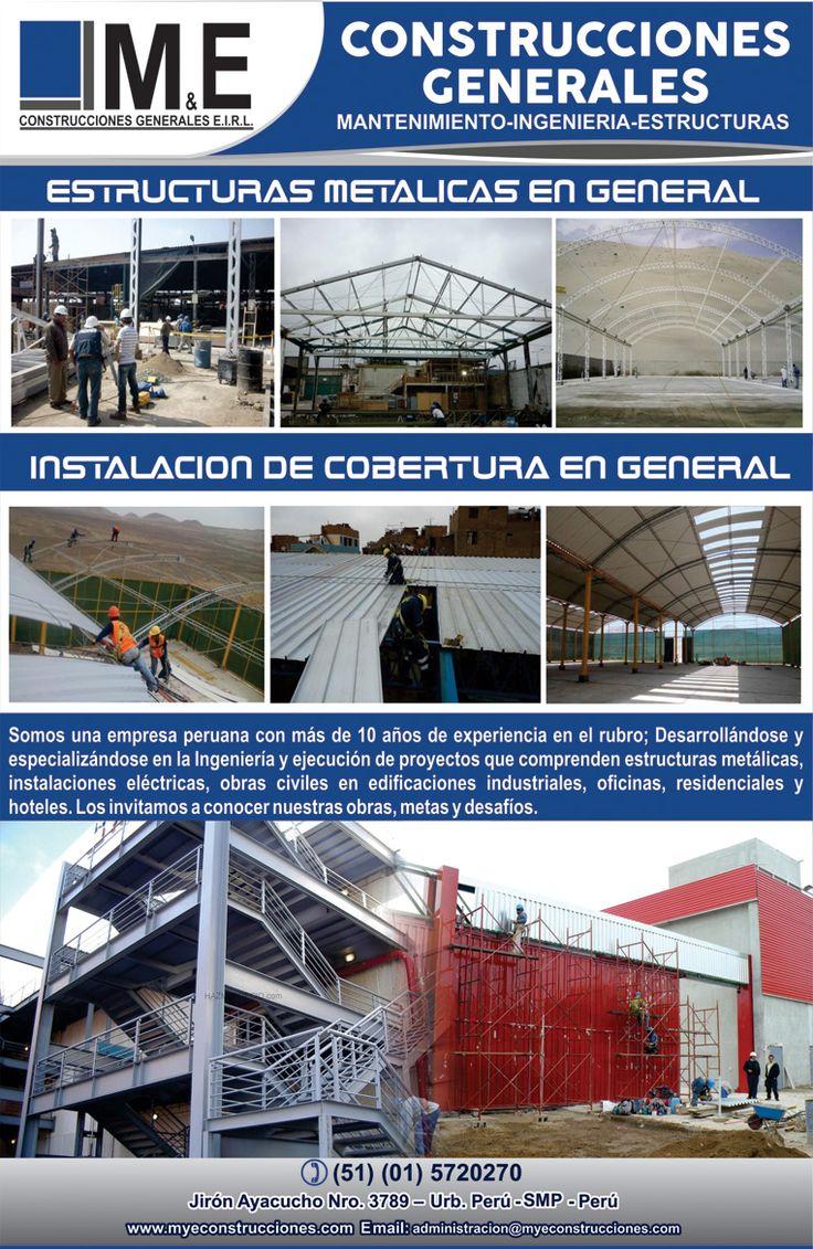 MANTENIMIENTO - INGENIERIA - ESTRUCTURAS Somos una empresa peruana con más de 10 años de experiencia en el rubro; Desarrollándose y especializándose en la Ingeniería y ejecución de proyectos que comprenden estructuras metálicas, instalaciones eléctricas, obras civiles en edificaciones industriales, oficinas, residenciales y hoteles.  Teléfono: (51) (01) 572-0270 / 726-9728 Celular: 991997619 (RPC) Email: administracion@myeconstrucciones.com www.myeconstrucciones.com
