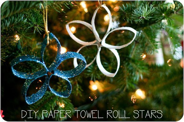 TUTORIAL Paper towel roll star ornaments for kids to make...cheap, easy, light, and they actually are pretty!  You could also use just four petals for a different look...or maybe glue a bead on the end of each point and see what that looks like?