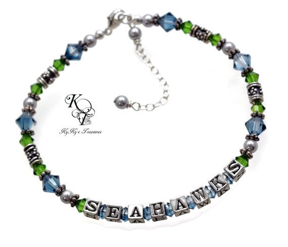Support the Seahawks with this beautiful Swarovski Crystal SEAHAWKS Bracelet. Order Now! https://www.etsy.com/listing/213419055/seattle-seahawks-bracelet-seahawks