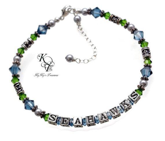 Seattle Seahawks, Seahawks Bracelet, Football Jewelry, Sports Jewelry, Sport Team Jewelry, Seahawks Gift, Christmas Gift Idea, Football Gift
