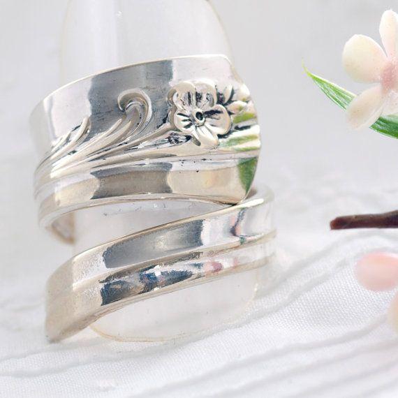 Vintage Spoon Ring  Meadow Flower Spoon Ring  Spoon by mcfmiller, $22.00