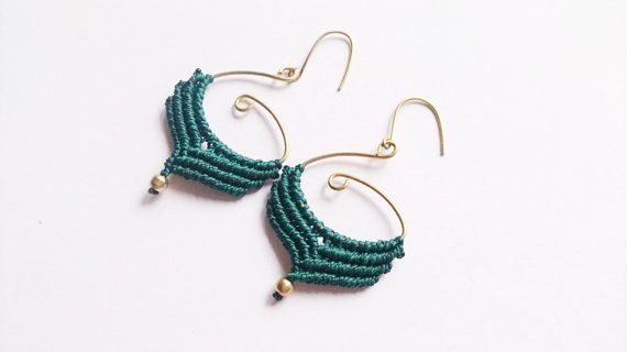macrame earrings hoop earringsgypsie earrings von PositivaJewelry