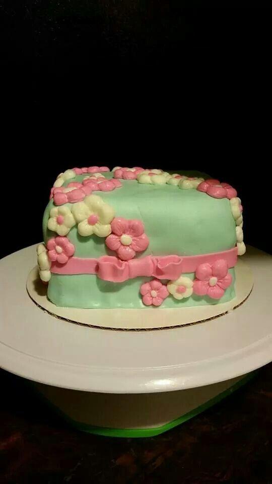 Fancy Flower Fondant cake by Sugar Sweet Crumbs - https://m.facebook.com/sugarsweetcrumbsmorristown