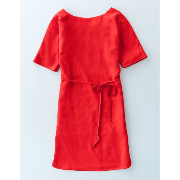 Boden Chic Belted Dress ($97) ❤ liked on Polyvore featuring dresses, poppy red, tie waist dress, boden dresses, poppy print dress, red polka dot dress and red dot dress