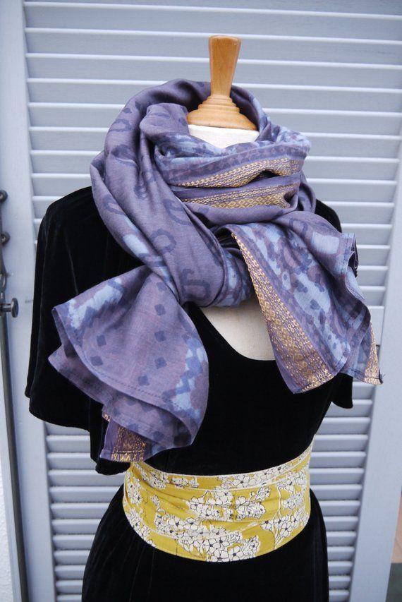 Foulard long cheche, coton et soie indien block print, - imprimé au tampon  maunellement 50876bbd983