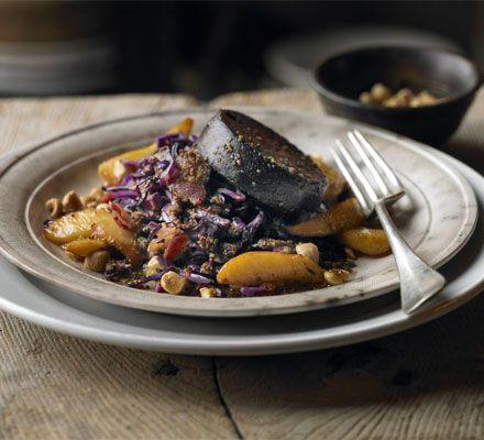 Warm salad of red cabbage, black pudding & apple recipe - Recipes - BBC Good Food