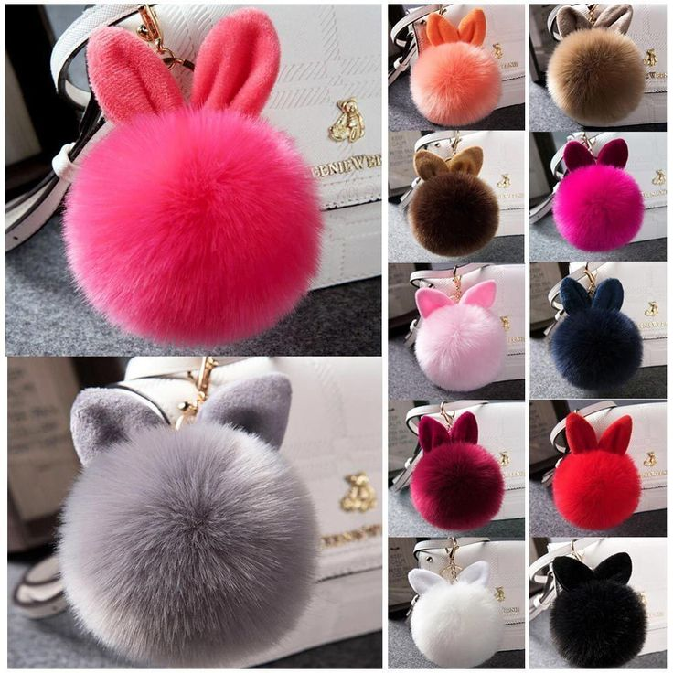 Rabbit+Ear+Handbag+Charm+Key+Ring+Rabbit+Fur+Ball+PomPom+Cell+Phone+Car+Keychain+#UnbrandedGeneric