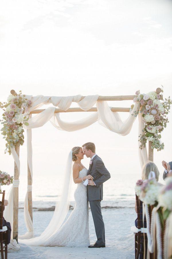 Elegant beach wedding ceremony decor