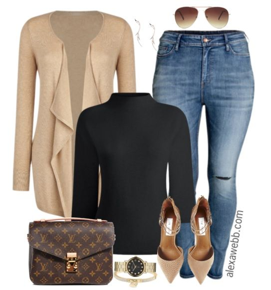 It's so easy to put together a look using neutrals. Plus it'slikely everyone has neutral pieces in their closets! Shop the look: Plus Size Cardigan// Louis Vuitton Satchel// Earrings // Plus Size Sweater //Watch // Bracelet // Sunglasses // Plus Size Skinny Jeans //Nude Pumps Shop more plus size distressed skinny jeans