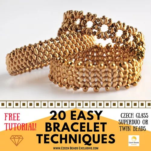 PDF SuperDuo or Twin Beads - 20 Easy Bracelet Techniques! - Free Tutorial