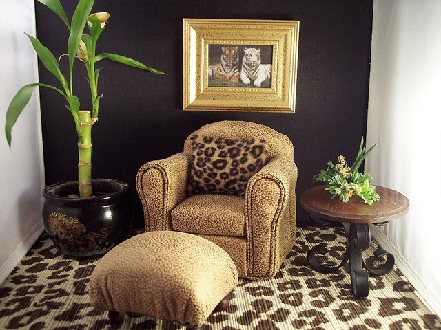 Leopard print decor living room barbie doll house furniture 2 pinterest reading room for Leopard print living room ideas