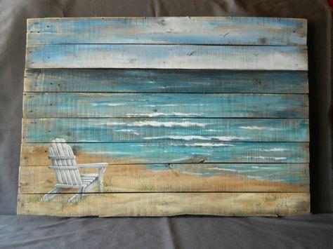 Wood Pallet Beach Wall Art Beach Hand Painted Seascape