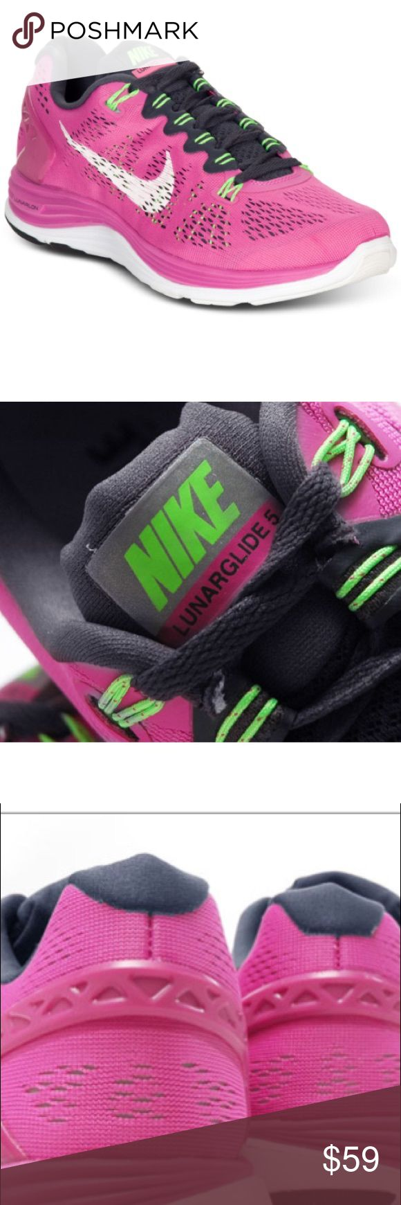 Nike Lunarglide 5 Purple/Pink/Lime Great pair of Lunarglide 5 running sneakers from Nike in excellent condition. Purple/pink color with lime green accent & gray laces. Please see pictures for normal wear but in excellent condition. Nike Shoes Sneakers