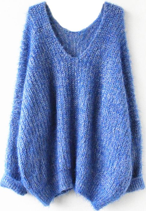 Royal Blue Long Sleeve V Neck Oversize Mohair Sweater - Sheinside.com