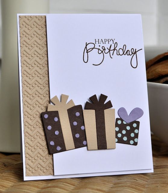 "Brown, tan and white make great colors for a handmade birthday card for the men in your life.  Embossed chevrons add some texture to the border, and the purple heart ""bow"" adds a pop of color.  The square presents and bows can be die cuts or create your own."