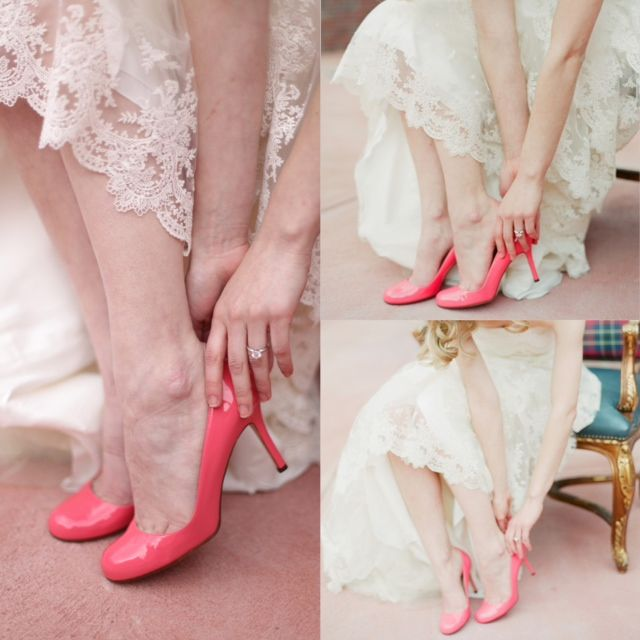 Pink wedding shoes lace dress