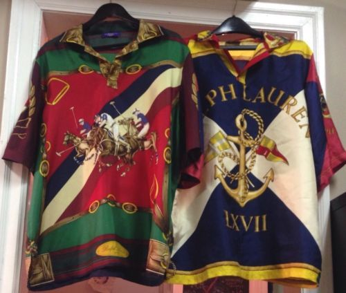 8e10b7a534 Vtg-Polo-Ralph-Lauren-Purple-Label-Bespoke-Silk-Stampede-Crest-Shirt-92-1992-93
