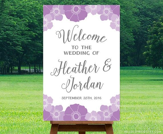Purple Flowers Printable Wedding Sign by HelloLoveCo on Etsy