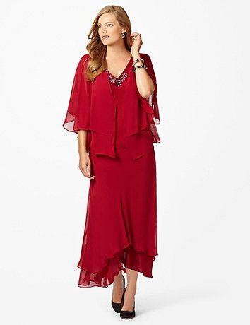 Floating On Air Jacket Dress: Get ready for a night to remember in this beautiful jacket dress. The chiffon bottom pairs with the fashionable hi-low hem to give a floating on air appearance. The sheer jacket gracefully layers over the dress with its wonderful wing-like sleeves. The sequin and rhinestone embellished neckline creates a lovely accessorized look. V-neckline. Three-quarter sleeves. #catherines #plussizefashion #holidaystyle #plussizedress #reddress
