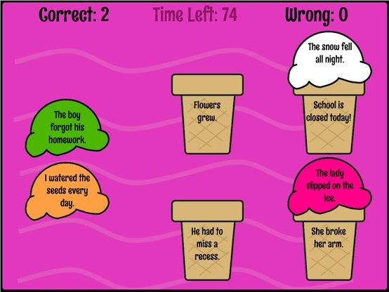 Cause and Effect Reading Skills Game  This game also generates a letter grade! RoomRecess.com