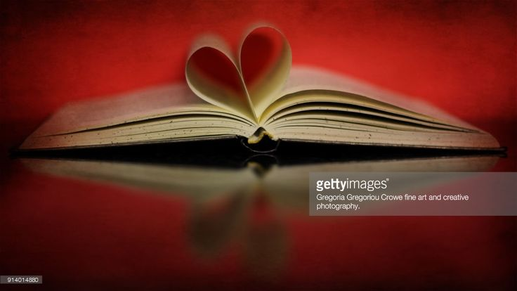An open hardcover book with pages folded to look like a heart with red background and flypaper textures overlay.