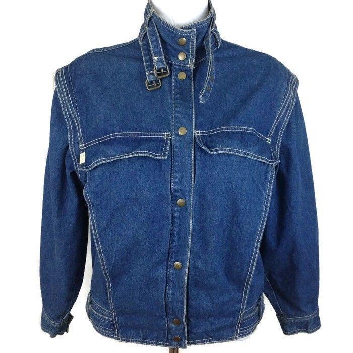 Vtg JAG Australia Women's Denim Blue Jean Jacket Converts Vest Zip Off Sleeves L #Jag #JeanJacketVest