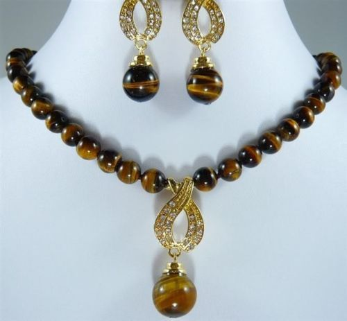 FREE shipping> >>>>>10MM tiger's eye  beads necklace earring set Instanations.com #instafashion #instagood #instanations #selfie #selfies #selfiestick