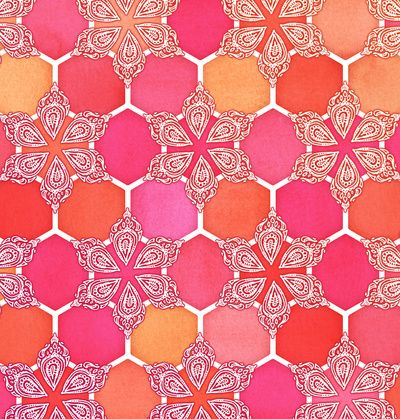 Pink Spice Honeycomb - Doodle Hexagon Pattern - Art Print by Micklyn/Society6
