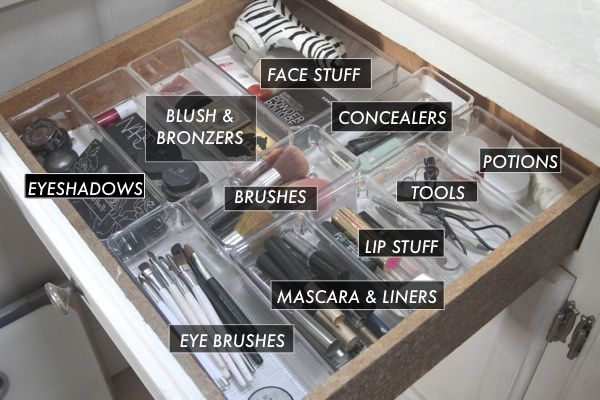 Creating zones in your makeup drawer using clear organizers will help keep everything visible and accessible. | shutterbean