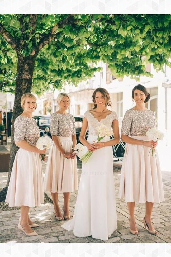 Customized Fine Modest Bridesmaid Dress Midi Length Bridesmaid Dresses Half Sleeve Modest Mother Of The Bride Dresses
